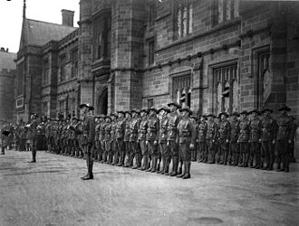 University of Sydney - The Sydney University Regiment forming a guard of honour for the visiting Duke of York, 1927