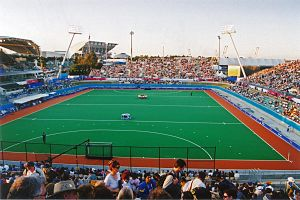 Field hockey at the 2000 Summer Olympics - Sydney Olympic Park Hockey Centre during the Olympics.