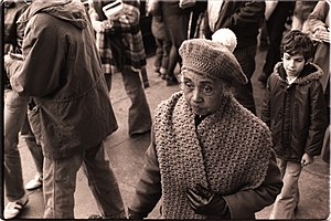 Peoples Temple - Peoples Temple members included the elderly as well as youth. Hazel Dashiell, with Mark Fields at an anti-eviction rally in Chinatown, 1977.