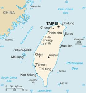 Übersichtskarte Taiwans