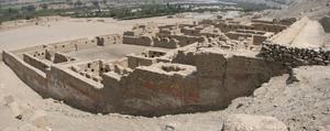 Tambo Colorado - Remains of original colours on the Northern Palace adobe walls of Tambo Colorado