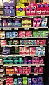 Tampons and women's sanitary towels in shop shelves-aisle in Meny Supermarket in Bergen Storsenter Shopping Mall, Bergen, Norway 2017-10-23 b.jpg