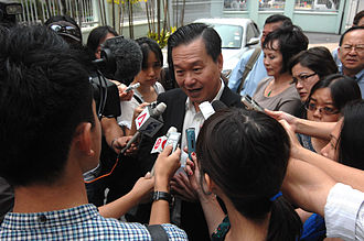 2011 Singaporean presidential election - Tan Kin Lian speaking to the media after submitting election forms