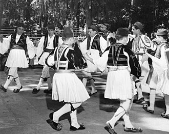 Greek Americans - Dancing in Greek Fustanella at a folk festival in White Springs, Florida