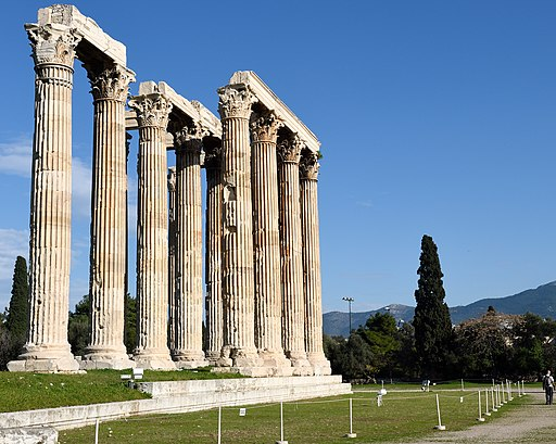 Temple of Olympian Zeus in Athens Greece in January 2015