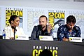 Tessa Thompson, Aaron Paul & Luke Hemsworth (48452493297).jpg