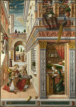 Carlo Crivelli - The Annunciation, with St. Emidius (1486)   National Gallery, London