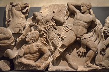 The Bassai sculptures, marble block from the frieze of the Temple of Apollo Epikourios at Bassae (Greece), Greeks fight Amazons, about 420-400 BC, British Museum (14256921551).jpg