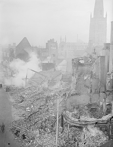 Coventry Cathedral and the city centre in ruins, 16 November 1940. The Blitz, 1940 - 1941 H5597.jpg