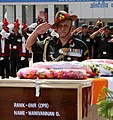 The Chief of Army Staff, General Bipin Rawat paying homage at the mortal remains of Gnr. Manivannan G., at Palam Technical Area, in New Delhi on June 04, 2017.jpg