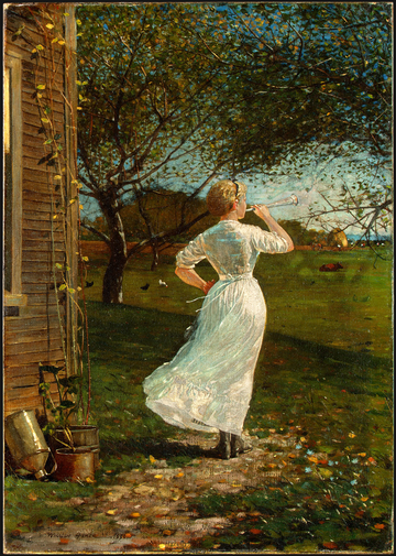 """The Dinner Horn"" (""Blowing the Horn at Seaside""), by Winslow Homer, 1870"