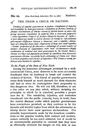 federalist paper 10 Federalist no 23: the necessity of a government as energetic as the one proposed to the preservation of the union alexander hamilton: federalist no 24.