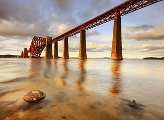 Architecture of Scotland in the Industrial Revolution - The iconic Forth Bridge, the first major structure in Britain to be constructed of steel