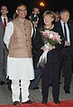 The German Chancellor, Dr. Angela Merkel being received by the Minister of State for Finance, Shri Jayant Sinha, on her arrival, at Air Force Station Palam, in New Delhi on October 04, 2015.jpg
