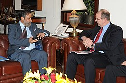 The Global Chairman, Auchan, Mr. Vlanney Mulliez meeting the Union Minister for Commerce & Industry and Textiles, Shri Anand Sharma, in New Delhi on April 02, 2013.jpg