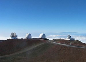 2009 Jupiter impact event - Keck Observatory (the two in the middle) and NASA Infrared Telescope Facility (right) at Mauna Kea, Hawaii