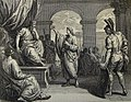 The Phillip Medhurst Picture Torah 194. Joseph interpreting Pharaoh's dream. Genesis cap 41 v 14. Dutch Bible.jpg