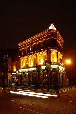 The Pineapple Public House in Lambeth North at night
