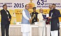 The President, Shri Pranab Mukherjee presenting the Swarn Kamal Award to the Film Maker Shri Sanjay Leela Bhansali for the Best Direction for Bajirao Mastani, at the 63rd National Film Awards Function, in New Delhi.jpg