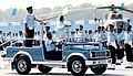 The President, Smt. Pratibha Devisingh Patil reviewing the ceremonial parade, during the Presidential Standard Ceremony, at Gorakhpur, Uttar Pradesh on March 25, 2009.jpg