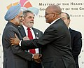 The Prime Minister, Dr. Manmohan Singh meeting the President of South Africa, Mr. Jacob G. Zuma, during the G-5 Summit, in L'Aquila, Italy on July 08, 2009.jpg