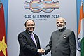 The Prime Minister, Shri Narendra Modi meeting the Prime Minister of Vietnam, Mr. Nguyen Xuan Phuc, on the sidelines of the 12th G-20 Summit, in Hamburg, Germany on July 08, 2017.jpg