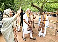 The Prime Minister, Shri Narendra Modi with the Prime Minister of Bangladesh, Ms. Sheikh Hasina, at Santi Niketan, in West Bengal on May 25, 2018. The Chief Minister of West Bengal, Ms. Mamata Banerjee is also seen.JPG