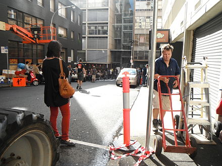 Crew of The Wolverine working on the film set in Surry Hills, Sydney The Wolverine Crew.jpg
