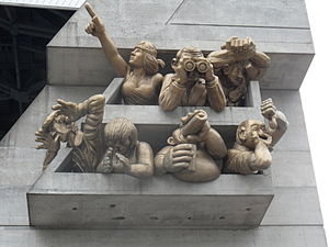 "Rogers Centre - ""The Audience"" – A sculpture by Michael Snow adorning the façade on the northwest corner of Rogers Centre."