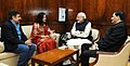 The grand-niece & grand-nephew of Netaji Subhas Chandra Bose, Ms. Madhuri Bose and Shri Chandra Bose call on the Prime Minister, Shri Narendra Modi, in New Delhi on December 16, 2015 (1).jpg