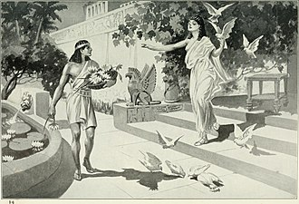 "Sargon of Akkad - Illustration of the Assyrian Sargon legend (1913): The young Sargon, working as a gardener, is visited by Ishtar ""surrounded by a cloud of doves""."