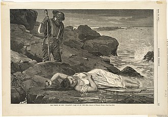 RMS Atlantic - Winslow Homer drawing of an Atlantic victim cast up by the sea
