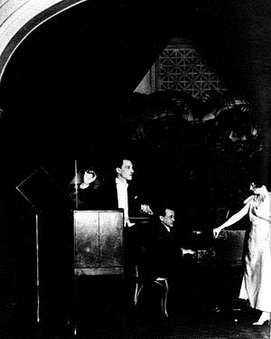 Leon Theremin performing a trio for theremin, ...