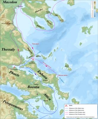 Battle of Artemisium - Image: Thermopylae & Artemisium campaign map