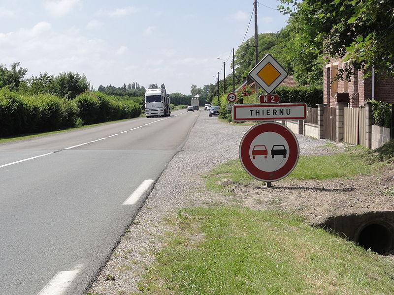 Thiernu (Aisne) city limit sign
