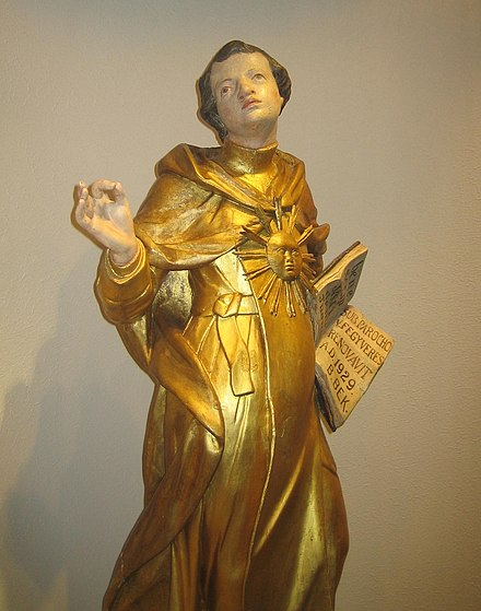 17th-century sculpture of Thomas Aquinas Thomas von Aquin 17th century sculpture.jpeg