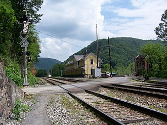 Thurmond, West Virginia - Thurmond Depot, now a New River Gorge National River visitor center, and a single track bridge which crosses the New River.