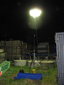 Tripod-mounted balloon light in a construction application. & Balloon light - Wikipedia
