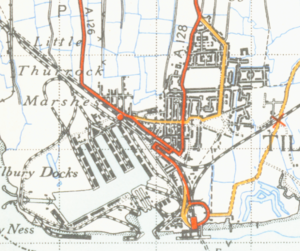 Port of Tilbury - A map of the town from 1946