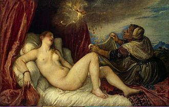 Danaë (Titian series) - Titian, 1553–1554, Hermitage Museum, Saint Petersburg. Here the figures are closer together, and Jupiter's face can be seen in the cloud.
