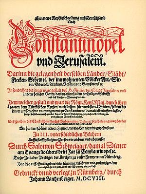 Salomon Schweigger - Ein newe Reiss Beschreibung auss Teutschland nach Constantinopel und Jerusalem (1608) title page