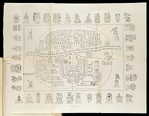 Tlaxcala (Nahua state) - A Map of Tlaxcala:  The top-right hand sector is Tizatlan, the bottom-right hand sector Quiahuiztlan, the top-left hand sector Ocotelolco, and the bottom-left hand sector Tepeticpac.  The river, Atzompa, crosses the city from North to South (left to right, the map being oriented along an East-West axis).  From Alfredo Chavero, Pintures Jeroglificas, Mexico 1901.