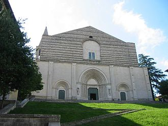 Todi - The unfinished façade of San Fortunato.