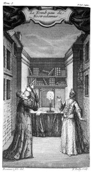 Le Tombeau de Nostradamus - Title plate from 1721 edition of Le Tombeau de Nostradamus
