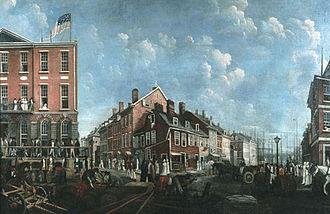 Tontine Coffee House - A 1797 oil on linen painting by Francis Guy (1760–1820). The building sporting the American flag on its roof is the Tontine Coffee House. Diagonally opposite (southeast corner, extreme right) is the Merchant's Coffee House, where the stockbrokers of the Buttonwood Agreement and others did trade before the construction of the Tontine. On the right is Wall Street, leading down to the East River.