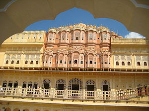 Hawa Mahal - Rear view with the two most ornate top storeys
