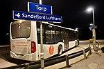 Torp train station, NSB shuttle bus to Sandefjord Lufthavn airport. Platform, sign, night. 2019-03-20 A.jpg