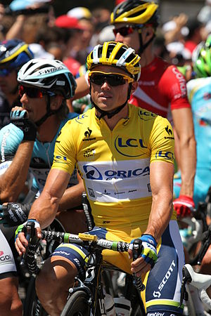General classification in the Tour de France - The 2013 yellow jersey, worn by Simon Gerrans