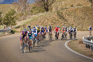 "Cycle sport - The final stage in Australia's Tour of Gippsland climbing up ""The Gap"" to Omeo"