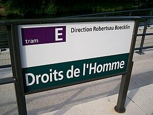 TramStrasbourg lineE DroitsHomme panneau2